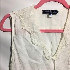 Ralph Lauren Sleeveless Top Sz 6 Linen Lace Collar